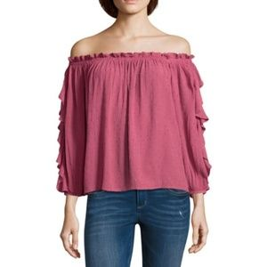 NWT Off Shoulder Quarter Ruffle Sleeve Top XS Pink